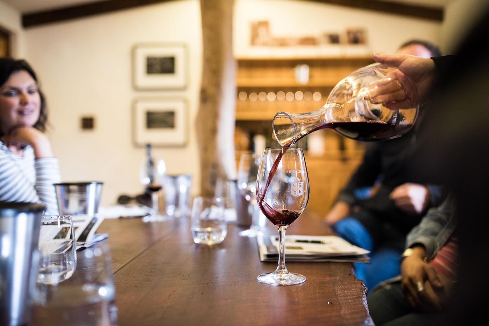 Visitors enjoying Henschke wine in the Julius room