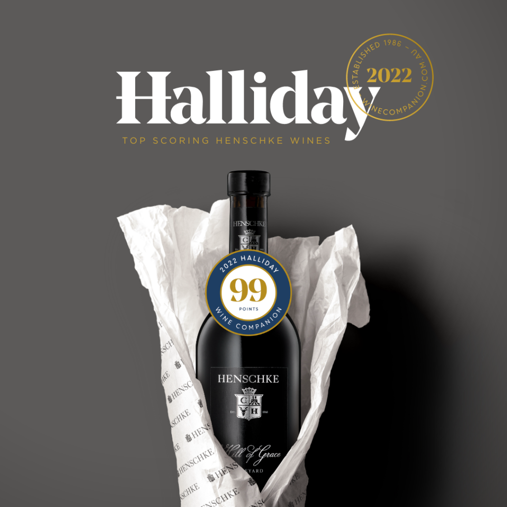 A bottle of Henschke Hill of Grace wrapped in white branded tissue paper